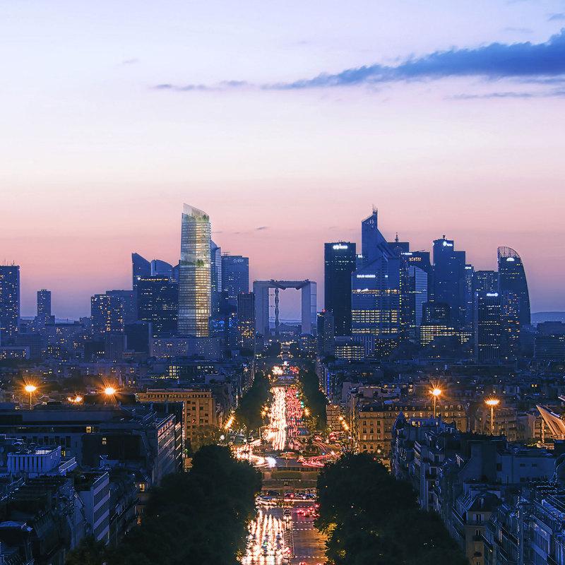 The Link PCA-STREAM tour La Défense skyline skyscrapper immeuble de bureaux plateforme végétalisé