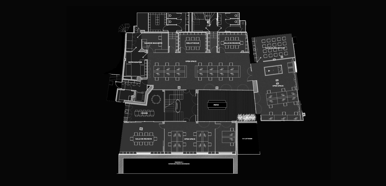 cluster PCA-STREAM offices marais paris ecosystem creative workplace patio plan